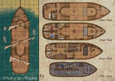 Another map done for Deepdark Designs. Wreck of the Brecken Fantasy Map, Medieval Fantasy, Warrior Priest, Pathfinder Maps, Ship Map, Rpg Map, D&d Dungeons And Dragons, Dungeon Maps, Tabletop Rpg