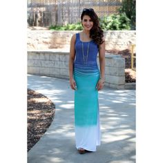 The smooth transition of color throughout this oceanic maxi dress pairs perfectly with a spring ...