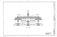 West Elevation: Sir Christopher Wren Building. The College of William and Mary (Williamsburg, VA)