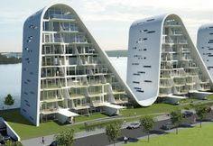 """""""Bøljen"""", The Wave, Vejle Fjord, Danmark, by Henning Larsen Architects."""