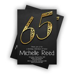 CUSTOM Gold Happy Birthday 65th Invitations Chalkboard black