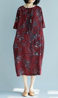 Women loose fit plus size pocket dress retro flower maxi tunic fashion trendy #unbranded #dress