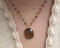 Delicate Rosary-Style Necklace - $45 #Labradorite #Chalcedony #24k #Goldplated #Goldfill #Golfilled #RosaryChain #Wirewrapped #Wirewrappedjewelry #Etsyjewelry  #Etsy #Handmadejewelry #SanDiego #facetedgemstone