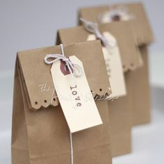Cut a decorative edge on a brown paper bag