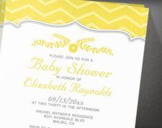 Yellow Zigzag Baby Shower Invitation