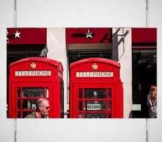 This Phone Box London Photography is an iconic scene of two phone booths, a pigeon, a fashionable London woman and a passer by - by Lost Kat Photo lostkat.com