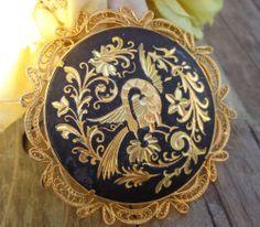 SOLD VTG 24k Gold Damascene Filigree Peacock Phoenix Bird BIG Brooch Pin TOLEDO SPAIN