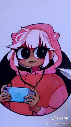 Anime drawing gamer girl with Switch pink hoodie. Original character art Happy's Charms. Cute Art Styles, Cartoon Art Styles, Cute Kawaii Drawings, Kawaii Art, Cartoon Girl Drawing, Cartoon Drawings, Art Drawings Sketches Simple, Cool Drawings, Character Drawing