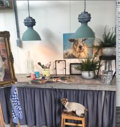 Perfect fit for these 2 Blue-Grey 'Sicko'lamps in your Atelier Art 93350 blauwgrijs.  Styling: Trudie Wijnen.  Photografie: Hagemeier Photography