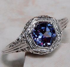 Color+Change+Alexandrite+925+Solid+Sterling+Silver+Art+Deco+Filigree+Ring+Sz+6