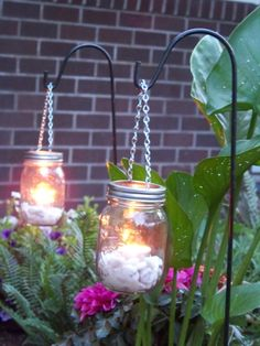 Set of 2 DIY Hanging Mason Jar Luminary by CrownedWithBeauty