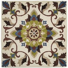 Tile Pattern Rug $299.95  Living room area for my LR make-over this fall  |  Details Professional rug cleaning recommended Wool Multicolor 6'W x 6'L Hand-tufted item: 2678891 Additional S: $25.00: