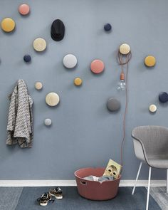 Customer favourite Muuto Dots Coat / Wall Hooks now available to order in new colours for autumn : burgundy, clay brown, beige green, pale blue, petrol and our favourite - walnut. Coat Hooks Hallway, Kids Coat Hooks, Wall Hooks, Decorative Coat Hooks, Home Decor Hooks, Coat Storage, Hallway Decorating, Interior Decorating, Home Room Design