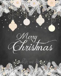 Christmas Printables, Merry Christmas Prints, Chalk Printable, Rustic Christmas Decor, Wall Art, Holiday Wall Decor, Decorations , Digital #ad