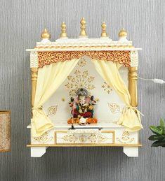 Temple Design For Home, Home Temple, Mandir Design, Japanese Joinery, Diy Diwali Decorations, Pooja Mandir, Pooja Room Door Design, Lord Shiva Painting, Puja Room
