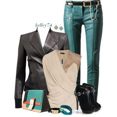 Turquoise, Beige & Black, created by kelley74 on Polyvore