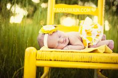 New born picture Love the yellow!!! I have an old rocking chair I'd love to do this with!