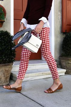 Obsessed with these red gingham pants the silk statement scarf