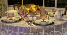 "Hello sweet friends!          I just found out Kathleen at her meme ""Let's Dish"" is having a purple themed tablescape for Fall this Wednesd..."