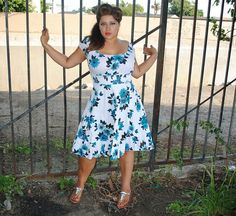 Womens Plus Size Dress, Blue with White Floral Design, Rockabilly,Pin Up,Retro style. $38.00, via Etsy.