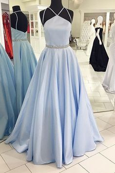 Unique blue chiffon prom dress, ball gown, prom dresses 2017