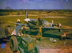 Re-fueling and bullet-replenishing of a Spitfire, England, 1939-1945