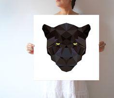 A02 - Black Jaguar - Large wall art - Modern - Geometric - Black panther by villavera on Etsy