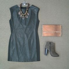 @bcbgmaxazria Karlee olive leather sheath with shoulder zippers, rope and abalone necklace, embossed croc clutch in camel,, and @bcbgmaxazria Rocco side zip and open toe bootie in olive suede.