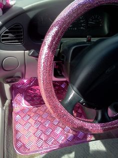 """""""My Own"""" Glitter PINK steering wheel cover (from Korea) bought for me by my husband (and my aluminum pink floor mats from Scotland)"""