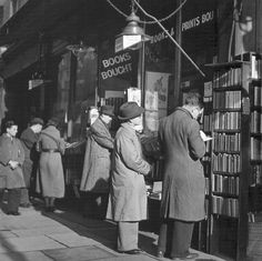 Charing Cross Road, London, 1937 It fascinated me that people spent such a long time going through the secondhand books left for them in front of the many book shops. Did they hope to find a valuable first edition or just an interesting book to read? Hermann Hesse, London Pictures, London Photos, Vintage London, Old London, People Reading, Vintage Photography, Photography Books, Writing