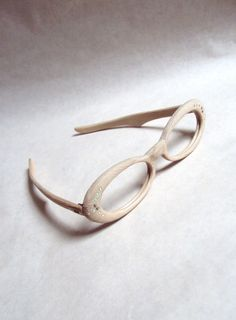 Deadstock 1960s beige etched lucite spectacle frames by Veramode