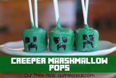 Minecraft Creeper Marshmallow Pops - Our Three Peas