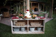 We made the most out of all the items accumulated at the ranch throughout the years—baskets, metal buckets, old chests. The strawberries were from a farm up the road.