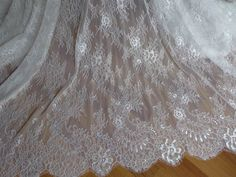 SOFT White French Chantilly Lace Fabric Elegant Floral Wedding Fabric Bridal Veils Lace Fabric By The Yard by lacelindsay on Etsy https://www.etsy.com/listing/196218013/soft-white-french-chantilly-lace-fabric