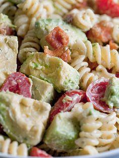 Creamy Bacon Tomato and Avocado Pasta Salad Recipe ~ creamy refreshing lemon dill dressing coats perfect pasta, creamy avocados, sweet tomatoes and crispy bacon. It's like summer in a bowl.