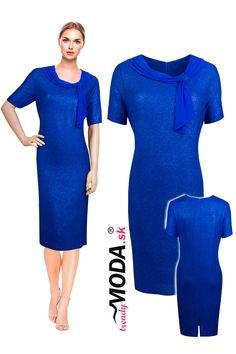 Elegantné modré spoločenské šaty pre moletky v atraktívnom odtieni kráľovskej modrej. Dresses For Work, Fashion, Moda, Fashion Styles, Fashion Illustrations