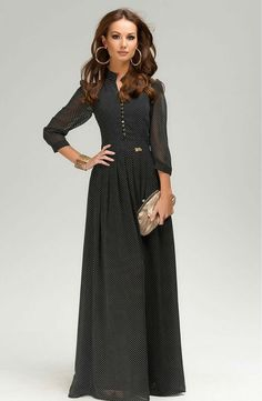 Classic Black Maxi Dress Chiffon Long Dress par FashionDress8