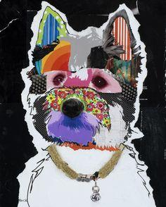 dog art, pop dog art, abstract dog art by Michel Keck