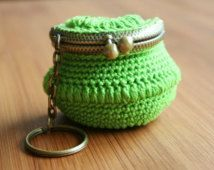Green Crochet Coin Purse with Keychain