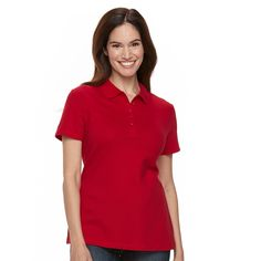 Petite Croft & Barrow® Classic Solid Polo, Women's, Size: Xs Petite, Med Red