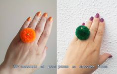 Beautiful and playful pom pom ring, optionally decorated with golden bead.  Colours: fantastic choice of colours - I currently offer these earrings in 30 colours - choose one that YOU like from a drop off menu!  Please note that colors may be slightly different on your screen (contact me if you need more pictures). Ring is gold plated. Ring size - it is adjustable  Pom pom size is approximately 1 inch wide and 7/8 inches high   Made with love and with great attention to detail!  Comes from…