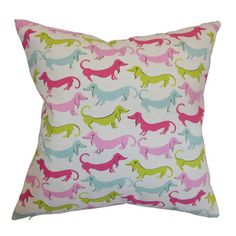 Cotton throw pillow with a dachshund motif. Product: PillowConstruction Material: Cotton cover and down fillColor: BubblegumFeatures: Insert includedZipper closureMade in the USA Dimensions: 18 x and Care: Spot clean Accent Pillows, Floor Pillows, Bed Pillows, Cushions, Funky Decor, Weenie Dogs, Doggies, Dachshund Love, Daschund