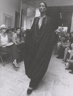 Beverly Johnson walks for Halston, 1974.