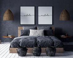 Inhale Exhale Print Wall Art Inhale Exhale Pilates Gifts Set of 2 Prints Relaxation Print Inhale Exhale Signs Yoga Poster Room Ideas Bedroom, Home Decor Bedroom, Modern Bedroom, Living Room Decor, Monochrome Bedroom, Industrial Bedroom Decor, Dark Bedrooms, Navy Blue Bedrooms, Blue Gray Bedroom