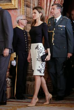 "22 April 2014 Spanish Royal Family attended the lunch in ocassion of the ""2013 Cervantes Award"" at the Royal Palace in Madrid"