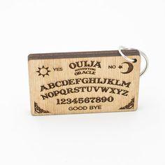 "Ouija Board Keychain - Mini Ouija Board Carved Wood Key Ring - Ouija Mystifying Oracle Wooden Engraved Charm - Ouija Board 2 1/2"" Keychain"