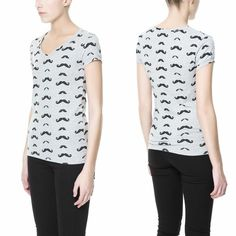 NWT ZARA Mustache Print All Over Tee TRF Gray Grey SIZE S