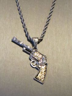 Mouse over image to zoom  Have one to sell? Sell it yourself Cowgirl BLING PISTOLS GUN Rhinestones Western Scroll 2 tone Necklace BAHA RANCH WESTERN WEAR EBAY SELLER ID  SOLOEDITION