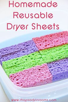 Homemade Reusable Dryer Sheets to make laundry easier and cheaper - Rhapsody in Rooms