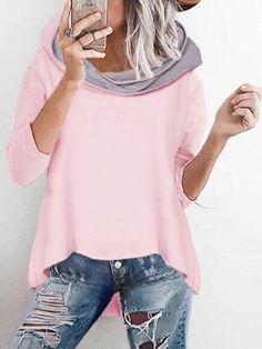 mde.tidebuy.com bietet hohe Qualität Unregelmäßig Hoodies Mit Modischem Kragen T-Shirt Wir haben mehr Arten für Shirts